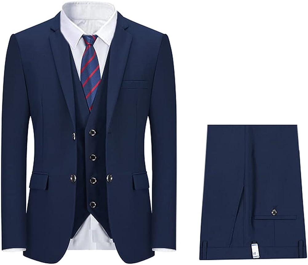 Boyland Mens Solid Color 3 Pieces Suit Notched Lapel Two Buttons Tux Jacket Vest Trousers