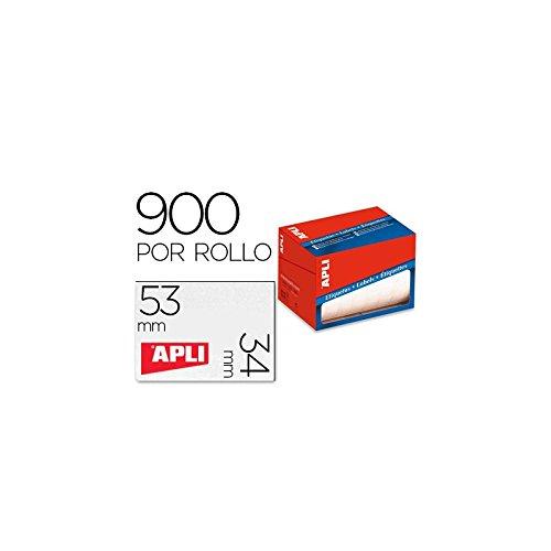 Rollo etiquetas Apli blancas 34 x 53 mm. 900 uds.