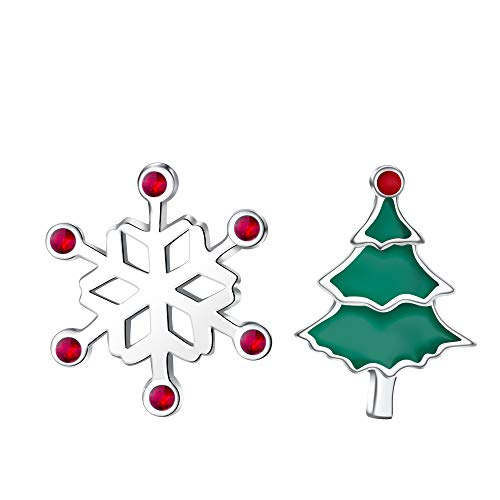J.Endéar Ohrringe Weihnachten für Damen Mädchen, Silber 925 asymmetrische Ohrstecker Schneeflocke Edelweiss Weihnachtsbaum