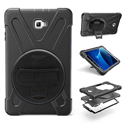 QiuKui Tab Cover For Samsung Galaxy Tab A A6 10.1 SM-T580 T585, Hand Strap 360 Rotation Stand Case Armor Cover for Samsung T580 T585 (Color : Black)