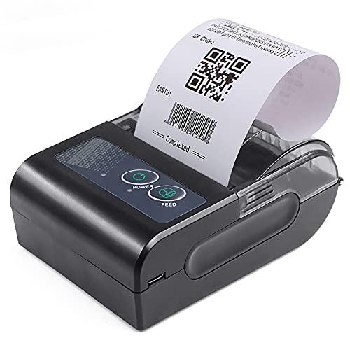Bisofice Mini impresora térmica portátil de 58 mm Impresora de recibos inalámbrica Soporte de conexión USB BT Comando ESC/POS Compatible con Windows Android iOS para supermercado Tienda Restaurante