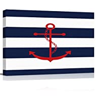 zzsunfeel Canvas Oil Painting Red Nautical Anchor Wall Art Navy Blue and White Stripes Picture Prints for Living Room Home Decor, Ready to Hang - 20x24 inches