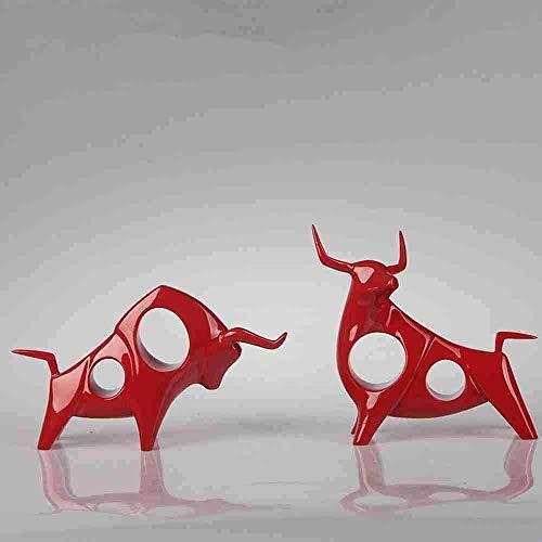 Escultura Decorativa Salon,Estatuas Creativas Esculturas De Vaca Roja Modernas Y Únicas Animales...