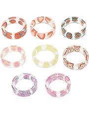 BESPORTBLE 8Pcs Fruit Rings Leuke Resin Indie Ringen Zomer Knuckle Transparante Stapelen Ringen Plastic Ringen Sieraden Gift Voor Vrouwen Tiener Meisjes (Gemengde Kleur)