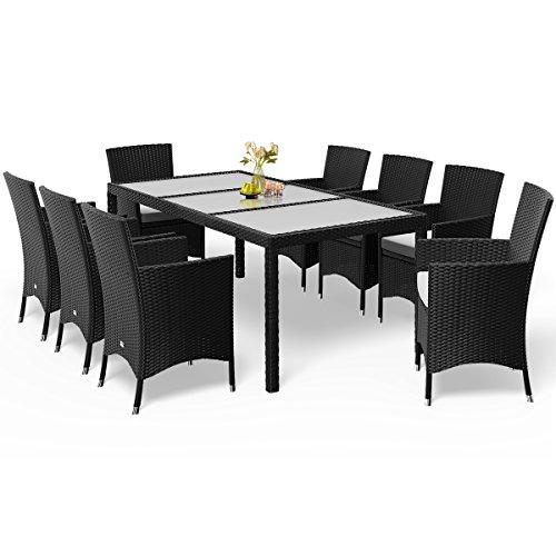 Deuba Poly Rattan Sitzgruppe Schwarz 8 Stapelbare Stühle & 1 Tisch 7cm Dicke Auflagen Gartenmöbel...