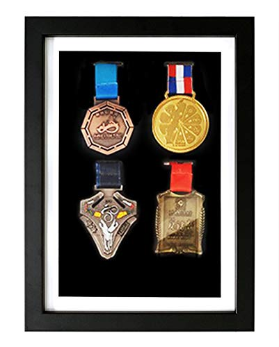 3D Deep Box Picture Frame for Marathon Medal Storage Box,Solid Wood Frame for Medal Awards, Best Gifts to Display War/Military/Sports Medals (black color 24X33cm 4 medals (inner A4 size))