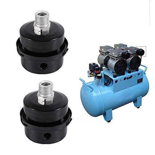 2 Piezas Silenciador de Filtro, 1/2'20 MM Silenciador de Compresor de Aire, Silenciador de Filtro de Rosca, Filtro de Aire Silenciador, Metal Negro, para Compresor de Aire sin Aceite