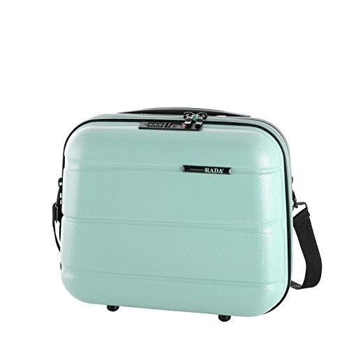 Rada ABS/13 Kosmetikkoffer Beautycase TSA-Schloss, Kulturbeutel - Hartschale, Waschtasche für Frauen und Herren, Wasserabweisend, mit Schultergurt, auf Trolley aufsteckbar (Mint)