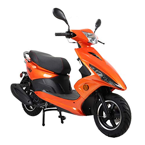 X-PRO Bali Moped Scooter Street Scooter Gas Moped 150cc Adult Scooter Bike with 10' Aluminum Wheels! Fully Assembled in Crate! -Orange