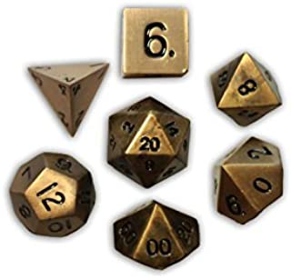 Norse Foundry Set of 7 Dragons Gold Full Metal Polyhedral Dice RPG Math Games DND Pathfinder