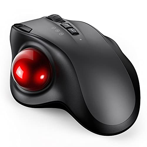 Bluetooth Trackball Mouse, 2.4G USB Wireless & Bluetooth Ergonomic Mice Rechargeable with USB-C Port and 3 DPI for Computer Laptop Tablet Android Windows Mac-Black