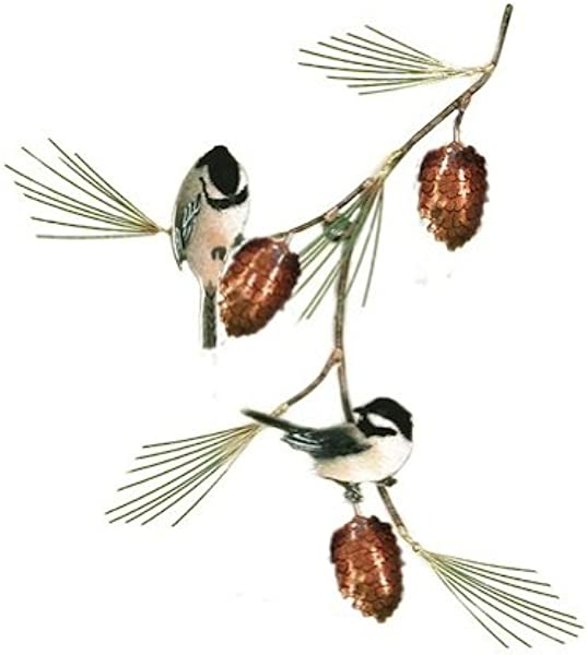 Bovano Wall Sculpture Chickadees W Pine Bough