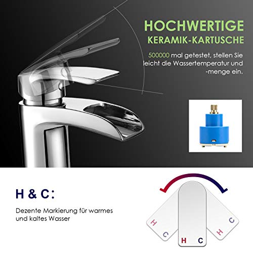 Design Kurzer Wasserfall Waschtischarmatur Einhebelmischer-Waschtischbatterie Bad Armatur Wasserhahn für Waschbecken - 4