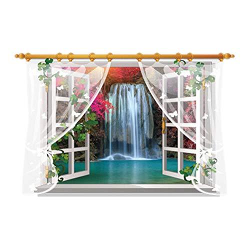 Autocollant mural facile à décoller et à coller - Amovible - Joli écran de fenêtre - Faux fenêtre - Autocollant mural en vinyle pour chambre d'enfant, maquillage - Autocollant pour réfrigérateur