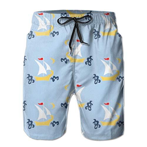 N Herren Cool Half Pants Strandshorts Schnelltrocknende Badehose - Segelboote Blau L.