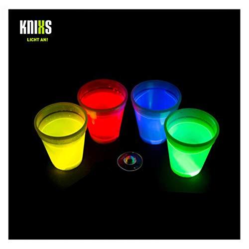 KNIXS 4er Set - Knicklicht Würfel-Becher / Becher 250ml im 4-Farb-Mix (rot, gelb, grün, blau) Leuchtend für Spiele, Party, Festival oder als Dekoration - ohne Spielwürfel