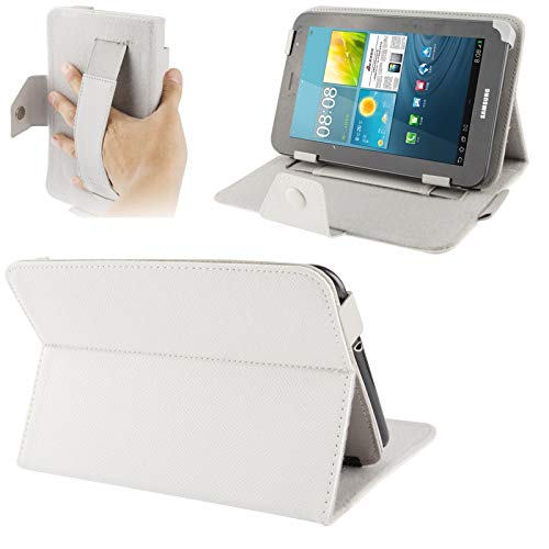 JIANGHONGYAN Funda de Cuero de Textura Cruzada con Correa de Mano elástica y Soporte for Tablet PC de 7 Pulgadas, tamaño Ajustable (Azul bebé) (Color : Blanco)