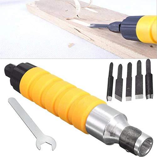 GJR-Diaoke 1 Satz Elektrische Holz Meißel Schnitzwerkzeug Elektrische Holz Cutter Meißel Gravur Messer Werkzeug W / 5 Klingen + Schraubenschlüssel Holzbearbeitungswerkzeug