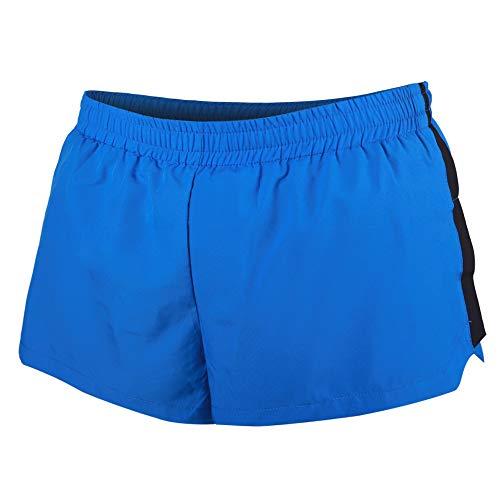 Hombres Corriendo Pantalones Cortos Ligero con Extremo División Secado rápido por Deportes Aptitud Poliéster Azul Large