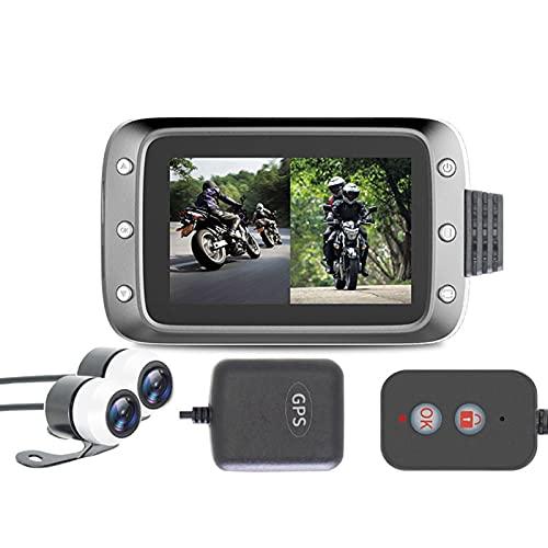 Grabadora de conducción 1080P,Fesjoy Grabadora de Motocicleta Dash CAM Dual 2 Canales Lente Delantero y Trasero 1080P Grabadora de conducción con GPS 140 ° Gran Angular LCD de 3 '', 64G máx.
