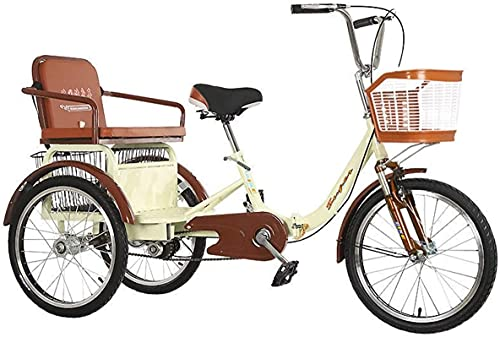 ZNND Bicicletas reclinadas Triciclos para Adultos 20 Pulgadas Bicicletas De 3 Ruedas Crucero Triciclo para Personas Mayores Mujer Hombres con Horquilla Suspensión Cesta Compra Y Asiento Trasero