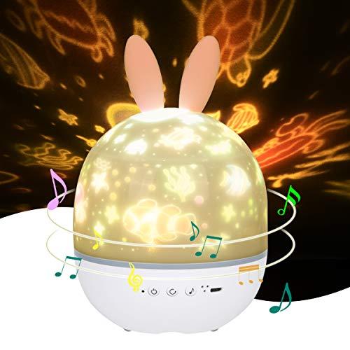 URAQT Projektor lampe Kinder, USB/Batterie Betrieben, Induktion Musik Nachtlicht Lampe, LED Sternenprojektor, Perfektes für Kinder, Party und Romantische Dekorationen [A ++]