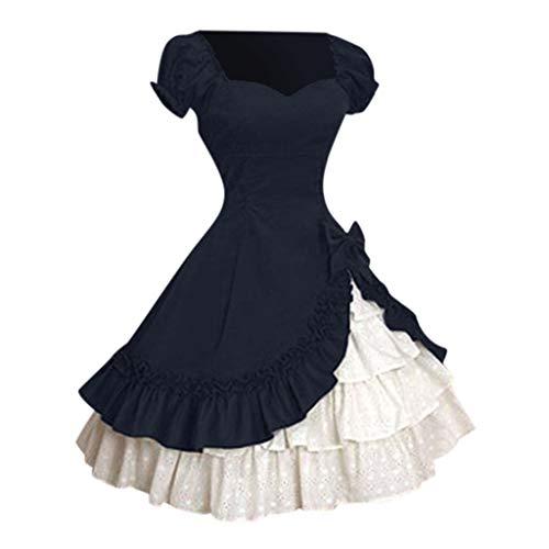 Lazzboy Kostüm Kleid Kuchen Rock Frauen Gotisches Gerichts Spitze Kollisions Karneval Damen Mittelalterliche Cosplay Gothic Retro Königin Partykleider(Dunkelblau,2XL)