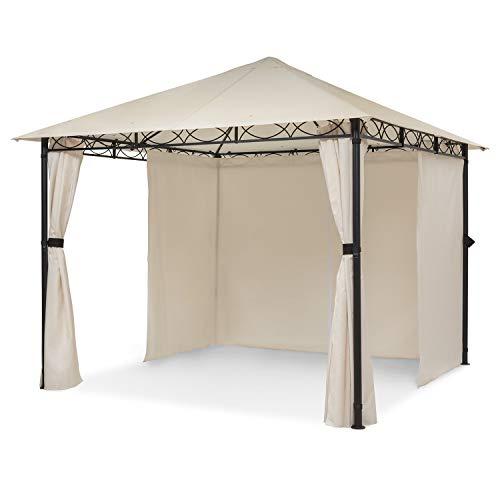 blumfeldt Mondo - Pergola Partyzelt Gartenzelt Gazebo, Größe: 2,95 x 2,6 x 2,95 m (BxHxT), 4 Seitenteile, EasyMount Concept, Witterungsschutz: UV/Wind/Regen, beige