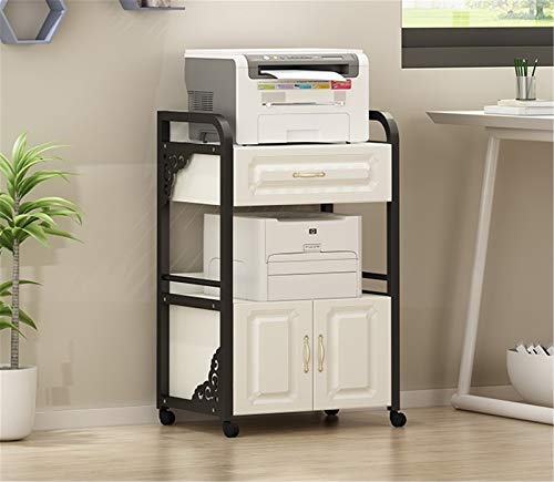 Soportes de Escritorio para Impresora Impresora Soporte Piso Multi-Capa Bookshelf Office Simple Home Desk Desk Side Storage Rack con gabinete Material de Oficina ( Color : Black1 , Size : One size )