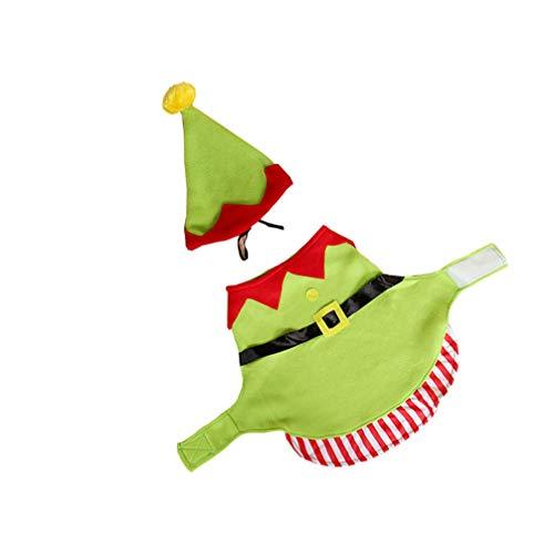 Amosfun 2 Piezas Navidad Disfraz De Mascota De Elfo con Sombrero Trajes De Invierno Perro Gato Ropa Vestido Cosplay Disfraces para 2020 Fiesta Año Nuevo