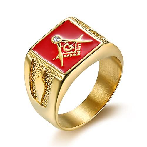 DZXCB Anillo De Metal De Calidad con Signo Masónico De Esmalte Rojo Punk, Joyería De Amuleto De Estilo Religioso con Diamantes Chapados En Oro Epoxi,13