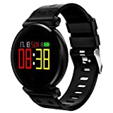 2018 NEW Fitness Tracker, Pard Swimming/Cycling Smart Watch, OLED HD Color Screen Heart Rate/Blood Pressure/Sleep Monitor, Sports Smart Bracelet for Android and iOS (黑色)