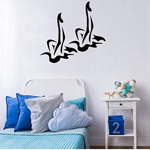 Adesivo Muro Adesivi murali nuoto sincronizzato Palestra sportiva Vinile Piscina Design Adesivo murale Nuoto Ragazze Adesivo Decorazioni per la casa 45x42cm