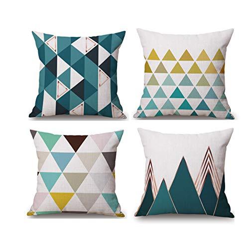 MUROAD 4 fundas de cojín, funda para cojín del sofá, de algodón y lino, funda de cojín, abstracción, geométrico, 45 x 45 cm