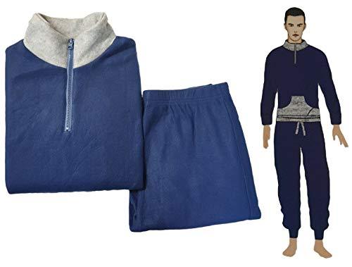DEMONA Pigiama Uomo Ragazzo Invernale Molto Caldo in Pile Morbido Maglia E Pantalone Zip ZIPPO Nuovo Offerta Intimo (GE2-BLU, XL)