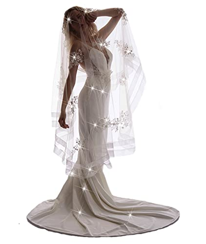 Passat 1Tiers Solid Lace Veil Ivory Cathedral Wedding Veils For Brides Shimmer Tulle Bridal Veil Beaded Comb