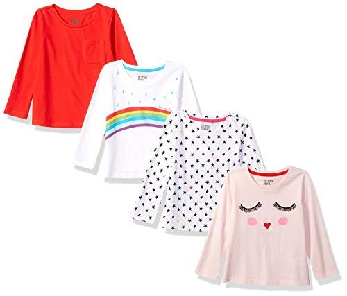 Spotted Zebra Girls' Kids Long-Sleeve T-Shirts, 4-Pack Rainbow Smiles, Medium