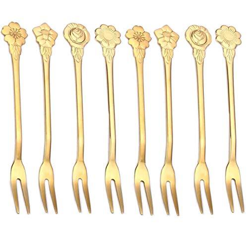 8 tenedores pequeños de acero inoxidable de 4.9 pulgadas, tenedores de pepinillos pequeños, tenedores de postre, tenedores para tartas de ensalada, bistró, cócteles, tenedores...