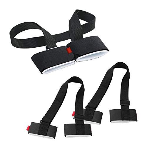 3 Stück Verstellbar Ski Schultergurt Klettverschluss,Ski Tragegurt für Staffelei Angelrute Wanderstöcke,Snowboard, Skiern,Skistöcke und Skischuhe für Erwachsene,Kinder