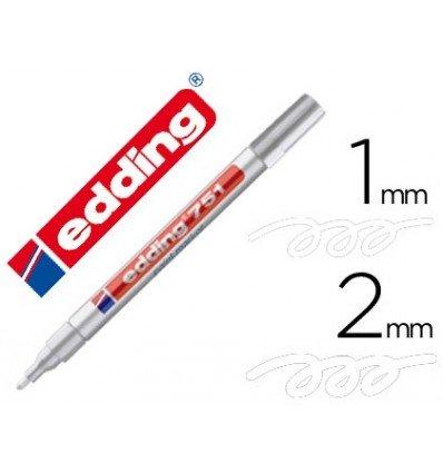 Edding 751-049-Pennarello indelebile 1-2 mm, colore: bianco, confezione da 10