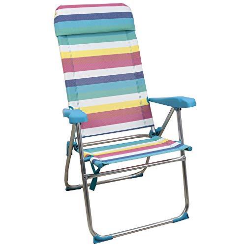 Sedia da spiaggia ARCOIRIS, letto a 4 posizioni con tasca posteriore con maniglie e testata regolabile in altezza (1 Unidad, Multi Color)