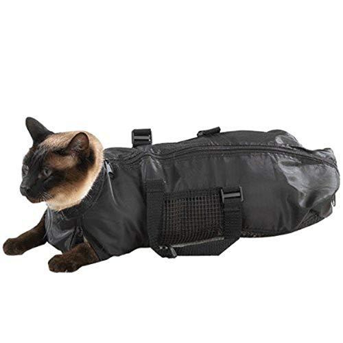 Camidy Tragbare Haustier Katze Rückhaltetasche Haustier Badetasche Katze Pflege Haustier Tasche Schwarz