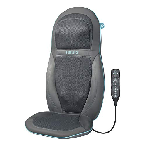 HoMedics Gel Back Massager Massage Chair Pad Seat Cover, Relax Full Back Neck Shoulder Muscles, Deep Kneading Rolling Vibration Soothing Heat, High Definition Targeted Treatments for Home + Office