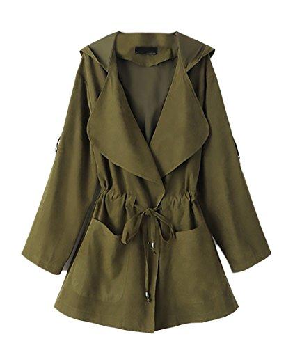 Eastery Trenchcoat Dames Young Fashion herfst elegante met capuchon riempje vintage windjack jas bowknot voorzakken lange mouwen casual jas effen dunne en lange stukken windjas Coat Mod