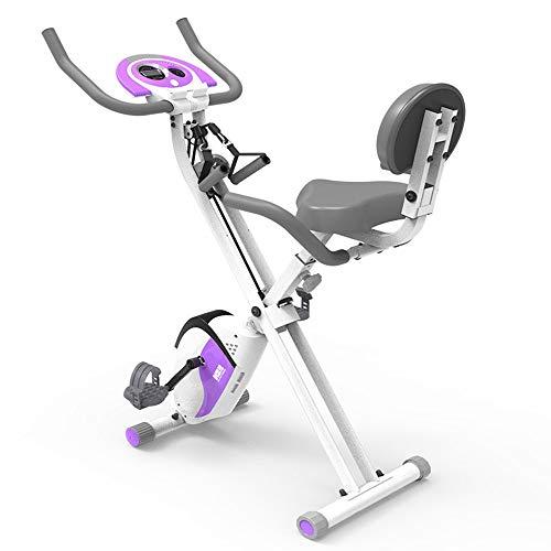 FUFU Bicicleta estática plegable de resistencia magnética con altura y velocidad ajustables, pantalla LCD, entrenamiento cardiovascular estacionario para el hogar para la aptitud y pérdida de peso.