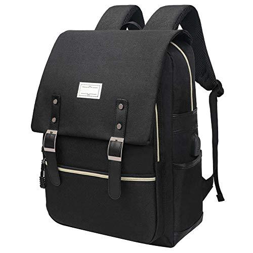 Laptop Rucksack 15,6 Zoll Schultasche für Frauen Männer, Tagesrucksack mit USB Ladeanschluss, Diebstahlsicherer Rucksack Reisetasche Funktions Daypack (Alle Schwarz)