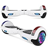 LIEAGLE Hoverboard, 6.5' Self Balancing Scooter Hover Board with Bluetooth Wheels LED Lights for Kids Adults (A02 White)