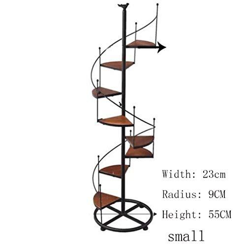 JPVGIA Portavaso per fiori Espositore per scale a chiocciola in ferro nero in metallo con scala a chiocciola 8 livelli, per la decorazione di interni di balconi soggiorno in nero ( Size : 23*9*55cm )