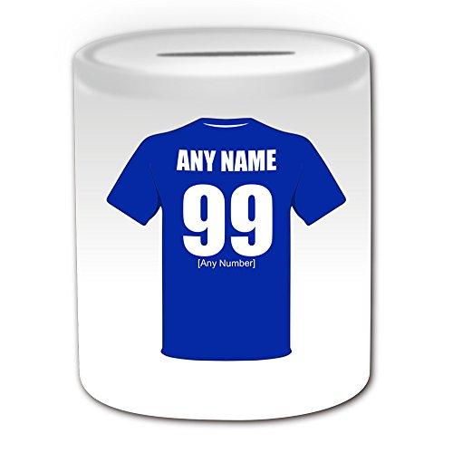 De regalo con mensaje personalizado - Everton Hucha (de balón de fútbol diseño de palo, blanco) - el nombre/mensaje en el diseño de - The Toffees Blues School of Science Peoples Club