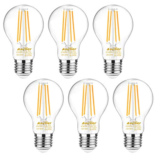Ascher 60 Watt Equivalent, E26 LED Filament Light Bulbs, Warm White 2700K, Non-Dimmable, Classic Clear Glass, A19 LED Light Bulb/6-Pack